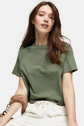 Topshop Womens Khaki Raglan Crop T-Shirt - Green