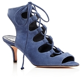 Delman Tanna Suede Caged Lace Up Mid Heel Sandals