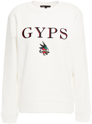 Maje Embroidered Cotton-blend Fleece Sweatshirt