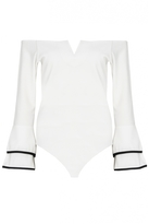 Quiz Cream And Black Double Frill Sleeve Bodysuit