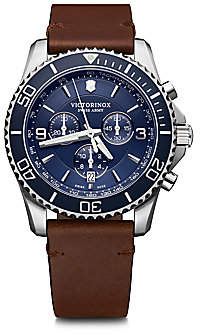 Victorinox Men's Maverick Chronograph Stainless Steel & Leather Strap Watch