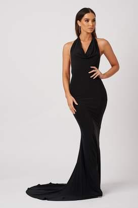 Club L Womens **Cowl Neck Low Back Maxi Dress By Black