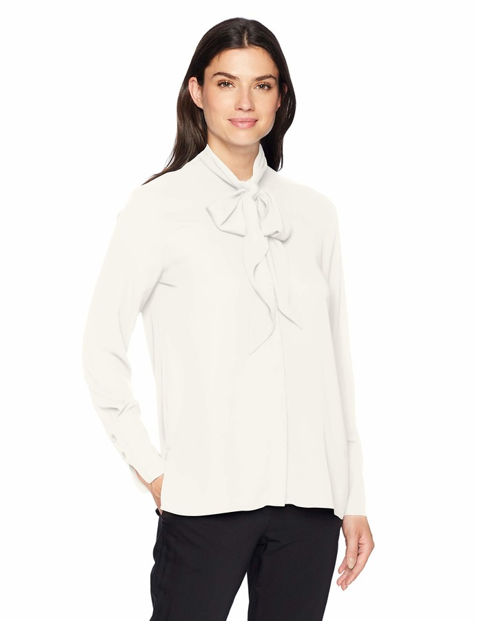 Thumbnail for your product : Lark & Ro Women's Georgette Long Sleeve Tie Neck Blouse