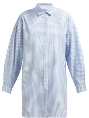 Mes Demoiselles Checked Oversized Cotton Shirt - Womens - Blue White