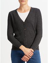 John Lewis Cable Stitch Cardigan, Charcoal