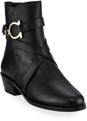 Salvatore Ferragamo Shadi Gancini Leather Booties