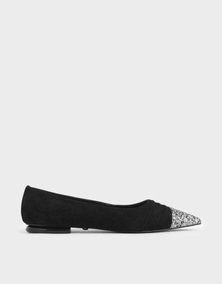 Charles & Keith Glitter Ballerina Flats (Kid Suede)