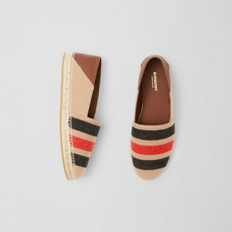 Burberry Stripe Detail Wool and Leather Espadrilles