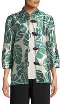 Caroline Rose Paradise Palm Jacquard Mandarin-Collar Jacket