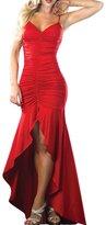 Junai Women's Stretchy Ruffle Sleeveless Long Prom Dresses S