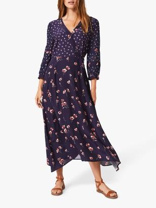 Phase Eight Anemone Floral Print Midi Dress, Navy/Pink