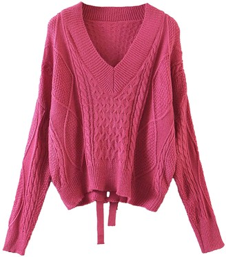 Goodnight Macaroon 'Kaylee' Cable Knit V-neck Tie Back Sweater (4 Colors)