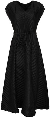 Issey Miyake V-neck pleated midi dress
