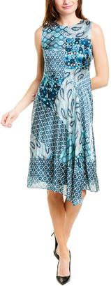 Elie Tahari Silk Midi Dress