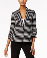 Nine West Striped Single-Button Blazer
