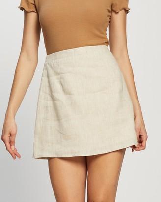 Dazie - Women's Neutrals Mini skirts - French Quarter Linen Skirt - Size 6 at The Iconic
