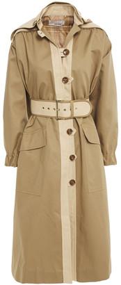 Zimmermann Belted Ramie-trimmed Cotton-blend Hooded Coat