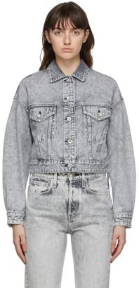 Rag & Bone Grey Cropped Trucker Denim Jacket
