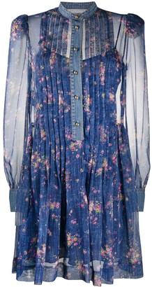 Philosophy di Lorenzo Serafini Denim-Trimmed Floral Prairie Dress