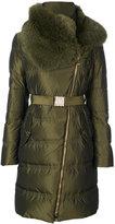 Versace belted high neck coat
