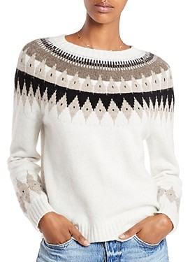 Aqua Cashmere Fair Isle Cashmere Sweater - 100% Exclusive