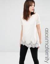 Asos Lace Mix Longline T-Shirt