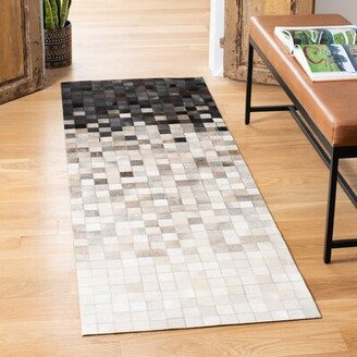 """Bronx Abstract Hand-Knotted Ivory / Black Area Rug Ivy Rug Size: Runner 2'3"""" x 7'"""
