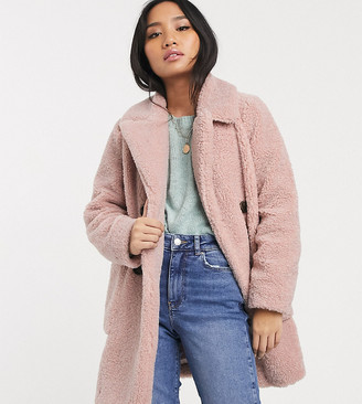 New Look Petite borg coat in pale pink