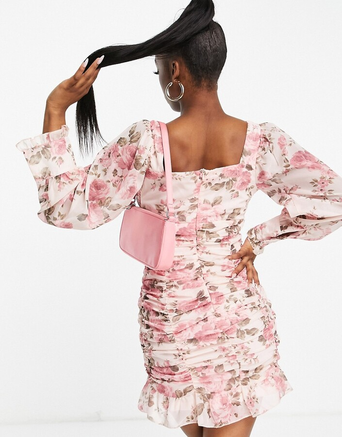 Thumbnail for your product : Parisian ruched bodycon mini dress in blossom print