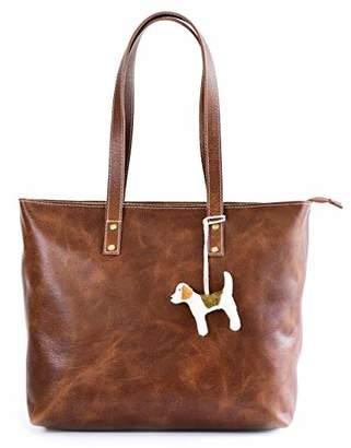 Vintage Genuine Leather Tote Bag for Women with Zipper - Large Shoulder Handbag