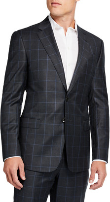 Giorgio Armani Men's Windowpane Check Two-Piece Wool Suit