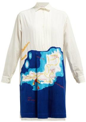 Kilometre Paris - St Barts Embroidered Cotton Shirtdress - Womens - White Multi