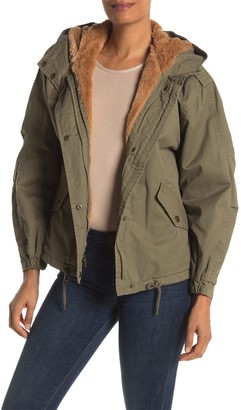 Lucky Brand Missy Faux Fur Lined Short Hooded Jacket