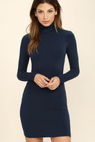 LuLu*s High Hopes Navy Blue Long Sleeve Bodycon Dress