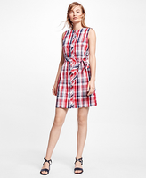 Brooks Brothers Seersucker Plaid Shirt Dress