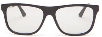 Gucci Logo-printed Square Acetate Sunglasses - Mens - Grey