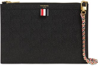 Thom Browne SMALL GRAINED LEATHER ZIP CLUTCH