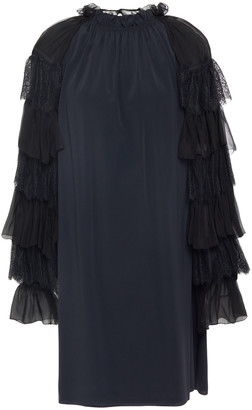 Alberta Ferretti Lace-trimmed Ruffled Crepe De Chine Mini Dress