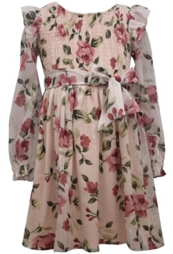 Bonnie Jean Big Girl Long Sleeved Lurex Chiffon Floral Printed Dress With Smocked Bodice And Self Tie At Waist