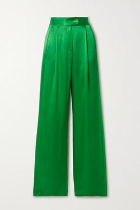 Mason by Michelle Mason Pleated Silk-satin Wide-leg Pants - Green