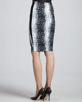 Robert Rodriguez Croc-Printed Pencil Skirt