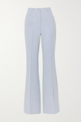 Akris Farid Linen And Wool-blend Flared Pants - Blue