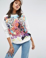 Versace Longline Sweatshirt Sweater in Graffiti Print