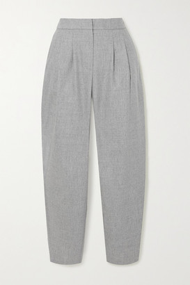 LOULOU STUDIO Farina Pleated Wool-blend Tapered Pants - Gray