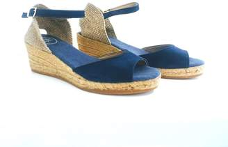 Toni Pons Marine Blue Suede Peep-Toe Wedge Heel Espadrilles Sandals - 36/ UK 3 | suede leather | marine blue | jute - Marine blue
