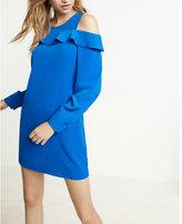 Express Ruffle Cold Shoulder Shift Dress