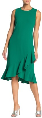 Nina Leonard Ruffle Hem Sleeveless Midi Dress