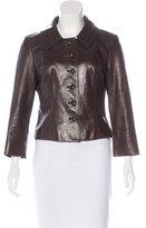 Carolina Herrera Collared Leather Jacket