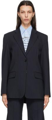 MM6 MAISON MARGIELA Navy Wool Pinstripe Blazer