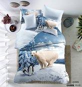 QzzieLife 3D Cute Penguin Print Polar Bear Soft Microfiber Kids Duvet Cover Set Queen Size Light Blue
